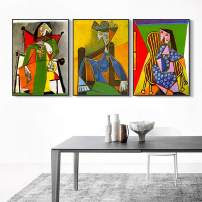"""INVIN ART Framed Canvas Art Combo Painting 3 Pieces by Pablo Picasso Wall Art Series#21 Living Room Home Office Decorations(Black Slim Frame,20""""x24""""Each Piece)"""