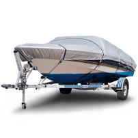 "Budge B-150-X2 150 Denier V-Hull Boat Cover Silver 14'-16' Long (Beam Width Up to 75"") Lightweight, UV Resistant"