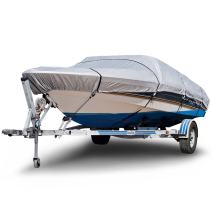 """Budge B-150-X2 150 Denier V-Hull Boat Cover Silver 14'-16' Long (Beam Width Up to 75"""") Lightweight, UV Resistant"""