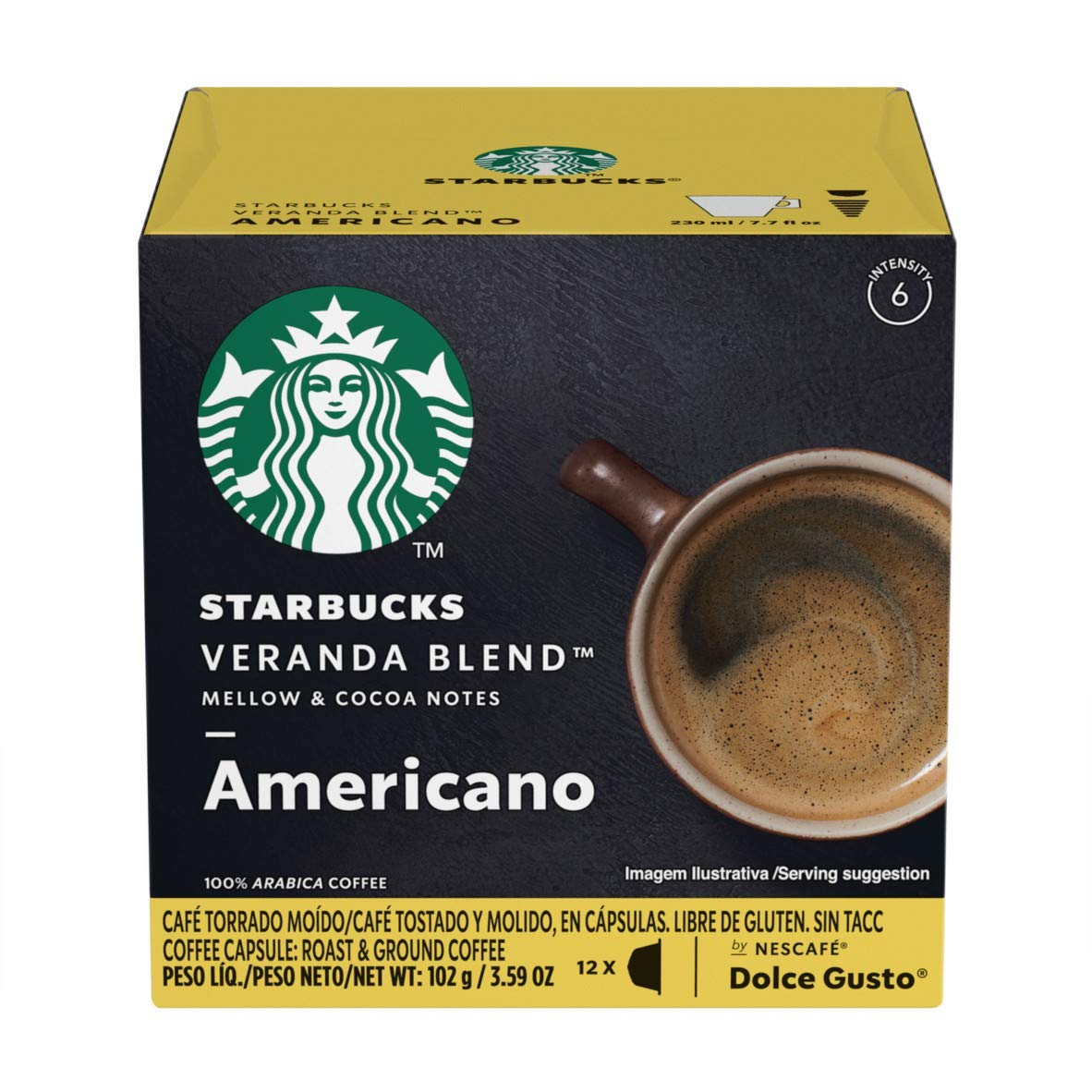 Starbucks Coffee by Nescafe Dolce Gusto, Starbucks Veranda Blend Americano, Coffee Pods, 12 capsules, Pack of 3