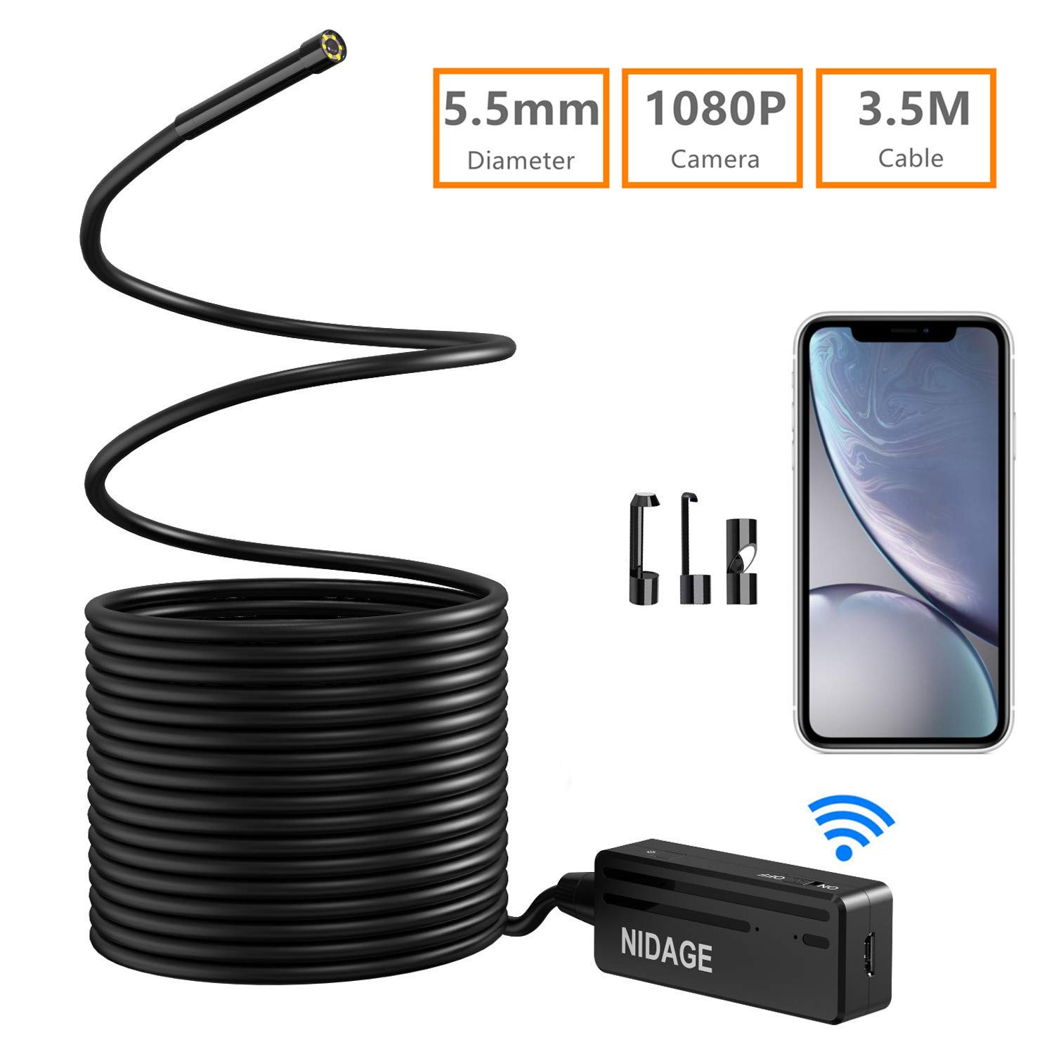 Wireless Endoscope, NIDAGE 5.5mm 2MP WiFi Borescope 1080P HD Semi-Rigid Snake Camera for iPhone Android, Tablet, Motor Engine Sewer Pipe Vehicle Inspection Camera(11.5FT)