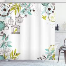 "Lunarable Birds Shower Curtain, Blooming Floral Background with Tropical Birds Flying Away from Cages, Cloth Fabric Bathroom Decor Set with Hooks, 75"" Long, Green Brown"