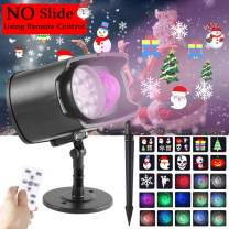 LEDGLE Christmas Projector Lights with Ocean Wave 2-in-1 LED Xmas Halloween Ripple Lights Landscape Decoration Lamp with Remote, Timing Function Outdoor Indoor Waterproof 9 Festival Pattern, No Slide