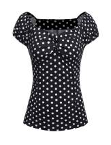 ELESOL Womens Vintage Retro Polka Dot Blouse Casual 1950s Pin up Tops for Women