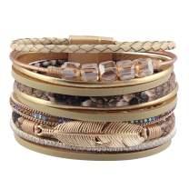 joymiao Feather Leather Cuff Bracelet Magnetic Multi Strand Bracelet Wrap Bracelet Bohemian Jewelry Gifts for Women, Wife, Sister