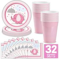 Set of 32 Baby Shower Girl Party Supplies in Pink Elephant Umbrella Theme Includes: Paper Plates, Luncheon Napkins, 16 oz Cups, Classy and Stylish Light Pink Design