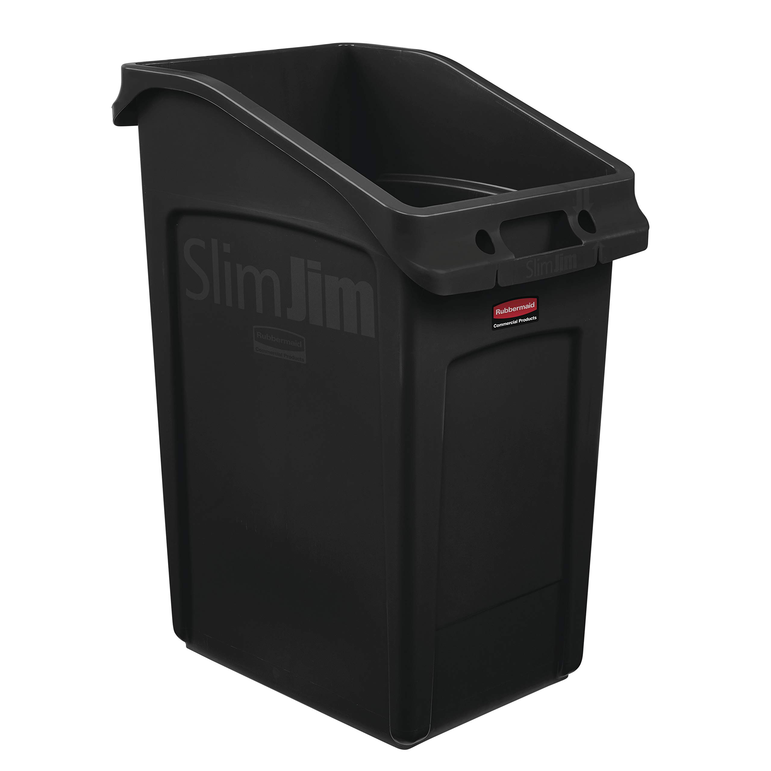Rubbermaid Commercial Products 2026722 Slim Jim Under-Counter Trash Can with Venting Channels, 23 Gallon, Black