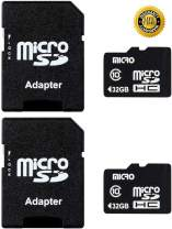 2 Pack,Micro Center 32GB Class 10 Micro SDHC Flash Memory Card with Adapter