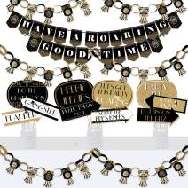 Big Dot of Happiness Roaring 20's - Banner and Photo Booth Decorations - 1920s Art Deco Jazz Party Supplies Kit - 2020 Graduation and Prom Party - Doterrific Bundle