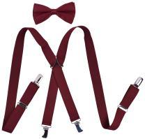 YJDS Mens' Suspenders and Pre Tied Bow Tie Set Adjustable X Back