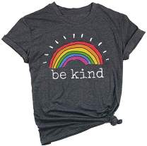 Be Kind Casual T-Shirt for Women Short Sleeve Rainbow Print Inspirational Graphic Tees Tops