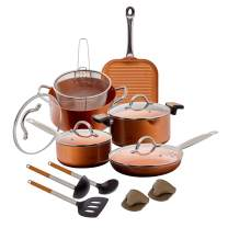 15 pc Copper Aluminum Cookware Set – Copper Nonstick Cookware Sets – Pots and Pans Set with Fryer Insert, Glass Lids, Spatula, Spoon, and more - Durable Copper Aluminum Cookware for Sauteing, and Frying.