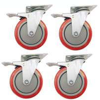 """Dr.Luck 5"""" Red Heavy Duty Caster Wheel with Brake Premium Commercial Grade Non-Marking PU Swivel Double Ball Bearing, Pack of 4 Total 1200 Lbs Capacity 360 Degree Top Plate"""
