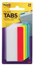 Post-it Tabs, 3 in, Solid, Assorted Primary Colors, 6 Tabs/Color, Durable, Writable, Repositionable, Sticks Securely, Removes Cleanly, 4 Colors, 24 Tabs/Pack, (686-ALYR3IN)