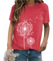 JNIFULI Women's Cute Dandelion Shirts Make a Wish Vintage Tees Funny Summer Short Sleeve Cotton Graphic Tees Tops