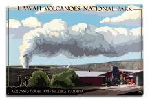 Lantern Press Hawaii Volcanoes National Park, Volcano House 43215 (6x9 Aluminum Wall Sign, Wall Decor Ready to Hang)