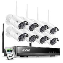 ZOSI 1080P Wireless Security Camera System with 3TB Hard Drive, H.265+ 8Channel 1080P Wireless NVR Recorder and 8pcs 1080P 2.0 Megapixel WiFi Outdoor IR Bullet IP Cameras with 65ft Night Vision