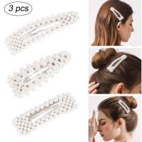 Yission Pearl Hair Clips, 3 Pcs Hair Barrettes for Women Girls Handmade Hair Clips Birthday Valentines Gifts Siliver