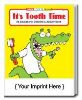ZOCO 250-Pack / Customize with Your Imprint: It's Tooth Time Kid's Coloring & Activity Books in Bulk - Wholesale Coloring Books - Coloring Books for Kids in Bulk - Promotional Items for Kids