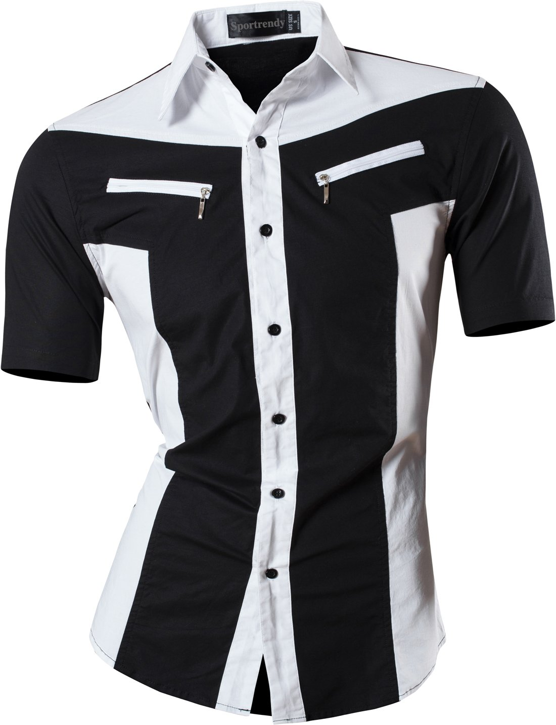 Sportrendy Men's Slim Short Sleeve Casual Button Down Dress Shirt JZS062 Black M