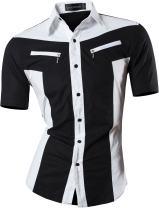 Sportrendy Men's Slim Short Sleeve Casual Button Down Dress Shirt JZS062 Black S