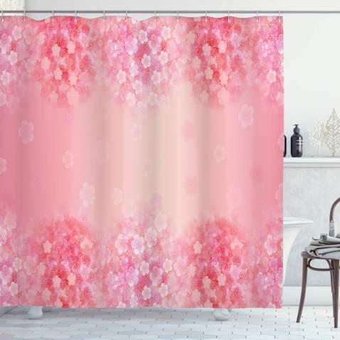 Watercolor Bird Spring Flowers Strawberries Shower Curtain Set Bathroom Decor LB