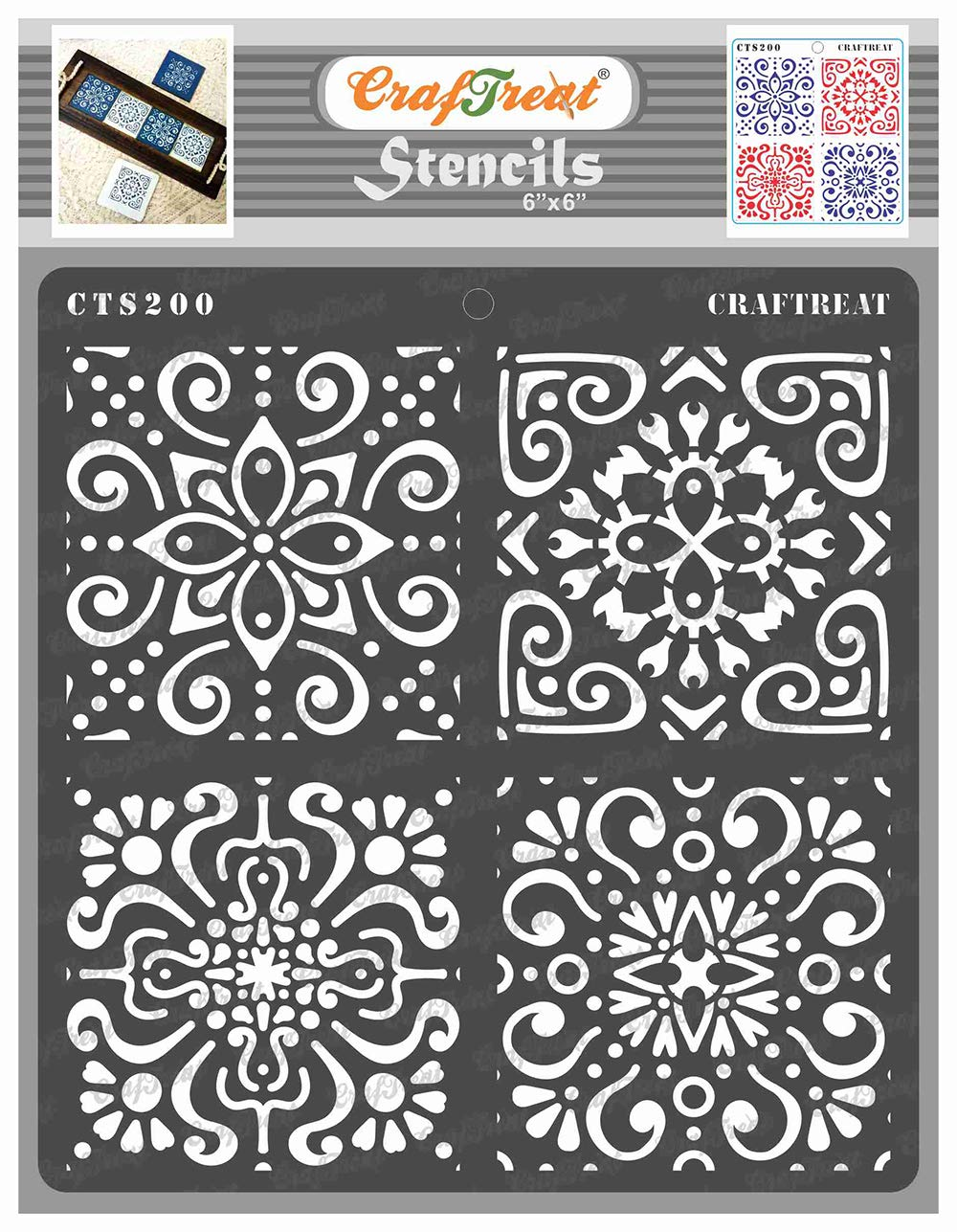 CrafTreat Moroccan Tile Stencils for Painting on Wood, Canvas, Paper, Fabric, Floor, Wall and Tile - Moroccan Tiles - 6x6 Inches - Reusable DIY Art and Craft Stencils - Stencil Tile Pattern