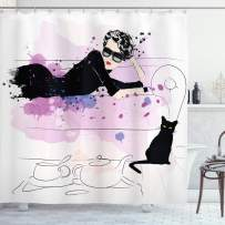 """Ambesonne Kitten Shower Curtain, Girl with Sunglasses Lying on Couch Cat in Home Theme with Stains Animals, Cloth Fabric Bathroom Decor Set with Hooks, 84"""" Long Extra, Black"""
