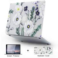 KKP MacBook Air 13 inch Case A1466 A1369 (Older Ver 2010-2017 Release) with Keyboard Cover Screen Protector, 3D Flowers Pattern Plastic Hard Shell Case Cover for MacBook Air 13 inch (F1)