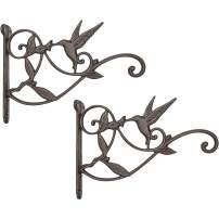 Mkono Hanging Plant Bracket Hook Iron Decorative Plant Hanger for Flower Basket Bird Feeder Wind Chime Lanterns, 2 Pack
