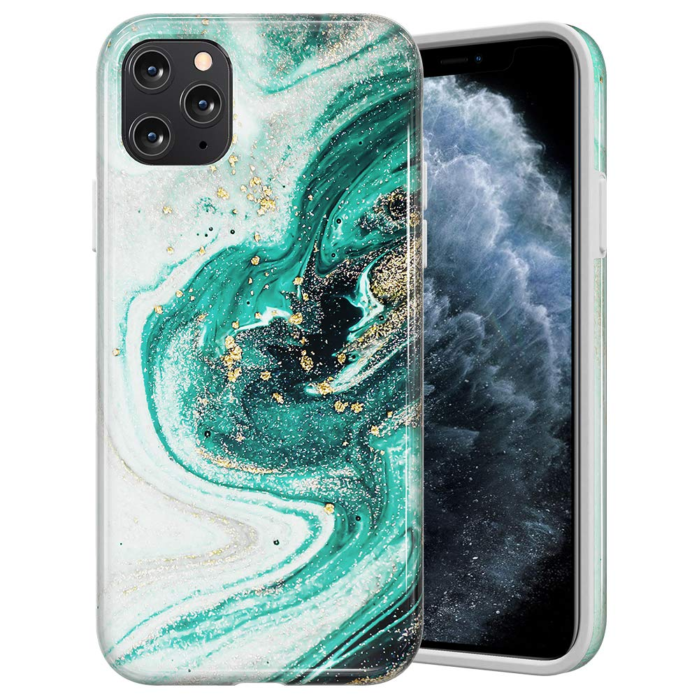 Caka Marble Case for iPhone 11 Pro Max Marble Case Anti Scratch Protective Luxury Fashion Shockproof for Women Girls Protective Marble Case for iPhone 11 Pro Max (6.5 inch)(2019)(Green)