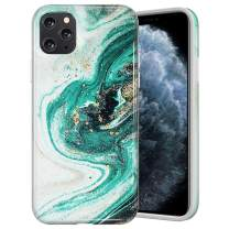 Caka Marble Case for iPhone 11 Pro Marble Case Anti Scratch Protective Luxury Fashion Shockproof for Women Girls Protective Shockproof Marble Phone Case for iPhone 11 Pro (5.8 inch)(2019)(Green)