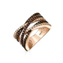 Crossover Statement Criss Cross Two Tone Black White Brown Coffee Pave CZ Band Ring for Women Silver Rose Gold Plated