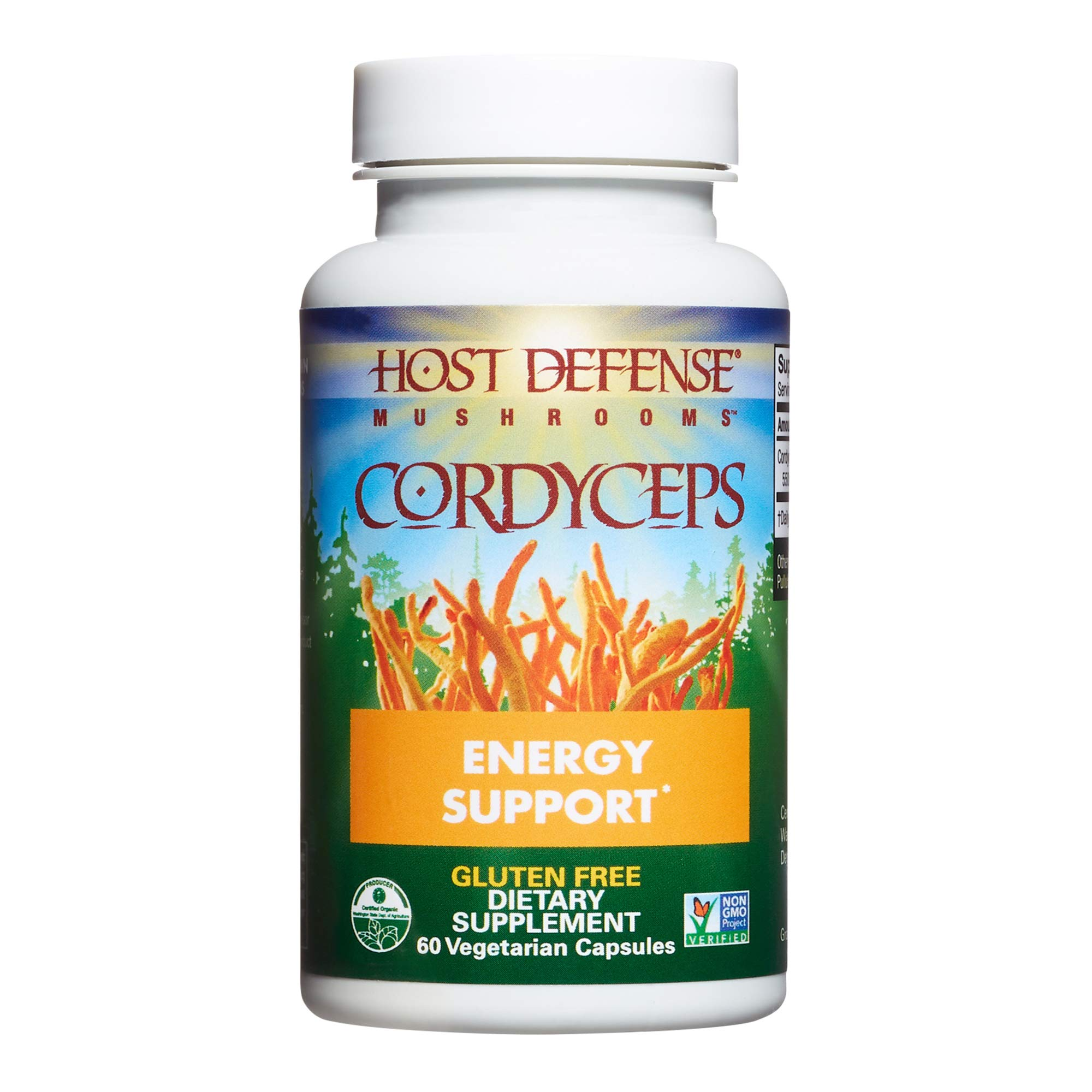Host Defense, Cordyceps Capsules, Energy and Stamina Support, Daily Dietary Supplement, USDA Organic, 60 Vegetarian Capsules (30 Servings)