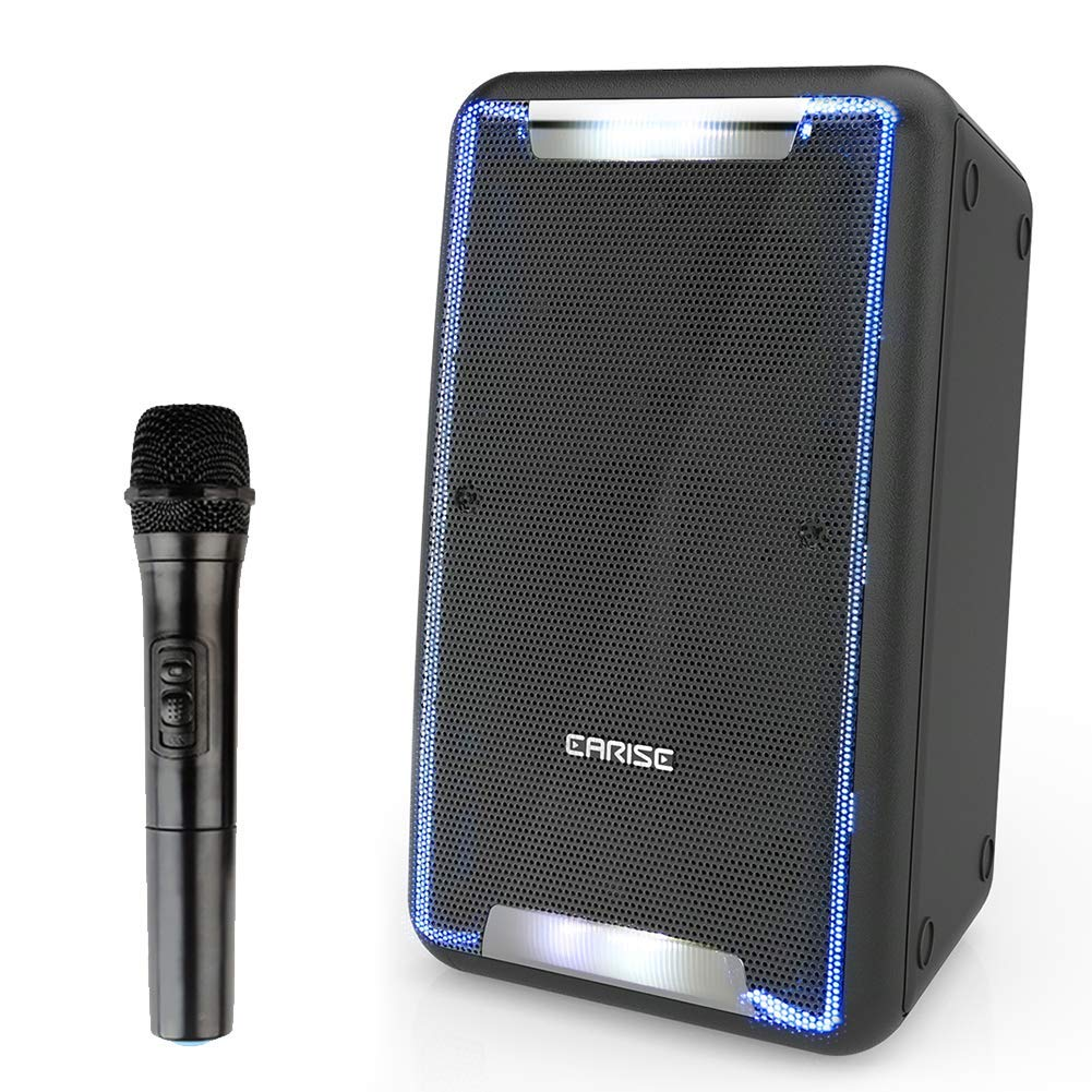 EARISE DT21 Bluetooth PA Speaker with Wireless Microphone, Portable Sound System, DJ Karaoke Machine with LED Lights, Audio Recording, Shoulder Strap, Guitar Input, FM, AUX/USB/TF, for Party