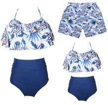 Ababalaya Mommy and Me Family Matching Swimwear Newest Printed Bikini Two Pieces Sets