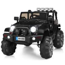 Costzon Ride On Truck, 12V Battery Powered Electric Ride On Car w/ 2.4 GHZ Bluetooth Parental Remote Control, LED Lights, Double Open Doors, Safety Belt, Music, MP3, Spring Suspension (Deluxe Black)