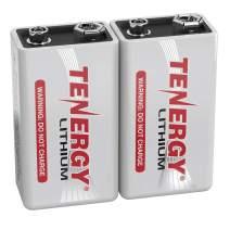Tenergy 9V Lithium Batteries, 1200mah Non-Rechargeable Batteries,10 Years Shelf Life Lithium 9 Volt Batteries - 2 Pack