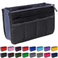 Handbag Organizer by Gaudy Guru - Insert Purse Organizer - Bag in Bag - 13 Pockets - Multiple Colors (Black)