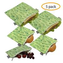 Reusable Sandwich Bags Snack Bags - Set of 5 Pack, Dishwasher Safe Lunch Bags with Zipper, Eco Friendly Food Wraps, BPA-Free. (Feather)