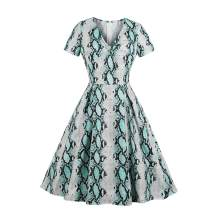 Wellwits Women's Knot Front Snakeskin Print Animal Pattern Midi Vintage Dress