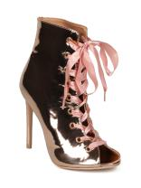 Indulge Brooklyn-1A Women Peep Toe Ribbon Lace Up Stiletto Ankle Boot HE14