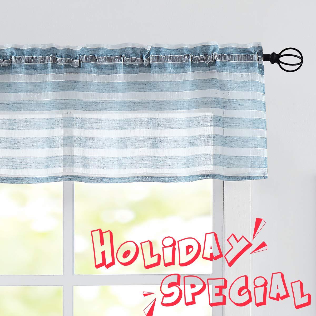 """Fragrantex Blue Striped Valance Curtains 15 inch for Kitchen Windows/Bathroom/Dining Room Linen Texture Cotton-Like Semi Sheer,56"""" W x 15"""" L 1 Panel"""