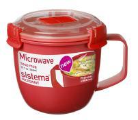 Sistema 1142 Small Microwave Cookware Soup Mug, 19.1 oz, Red