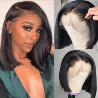 Beauty Forever Human Hair Bob Lace Frontal Wig For Black Women 130% Density Brazilian Virgin Hair Straight Hair Lace Wig with Pre Plucked Hairline Natural Color 100% Human Hair (12 Inch)