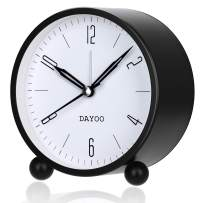 DAYOO Alarm Clock, 4 Inch Round Alarm Clock Non Ticking, Battery Operated and Light Function, Super Silent Alarm Clock, Simple Stylish Design for Desk/Bedroom (Black)