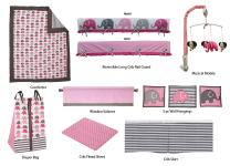 Bacati Elephants Pink/Grey 10-Piece Nursery in a Bag Baby Girl Nursery Crib Bedding Set with Long Crib Rail Guard