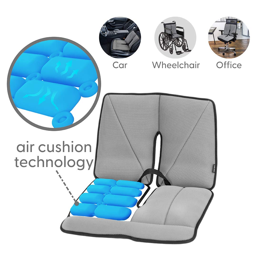 Dr. air Seat Cushion, Non-Slip Orthopedic Lumbar Support Cushion, Back, Sciatica, Coccyx and Tailbone Pain, Wheelchair, Office, Car, Home (Grey, Lumbar)