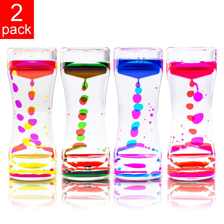 Liquid Motion Bubbler for Sensory Play, Fidget Toy, Children Activity, Desk Top, Assorted Colors (2 Pack)