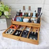 HomDSim Double Storage Cabinet Bamboo Desktop Organizer Storage Box Multifunctional Make up Tray Drawer for Make Up,Jewelry